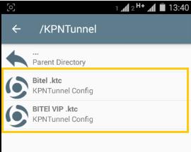 configuraciones kpn tunnel servidores bitel android