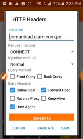 internet gratis con host ip de claro peru anonytun