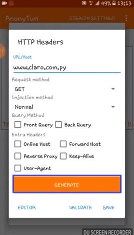 trick host de claro paraguay en anonytun vpn aplicacion android