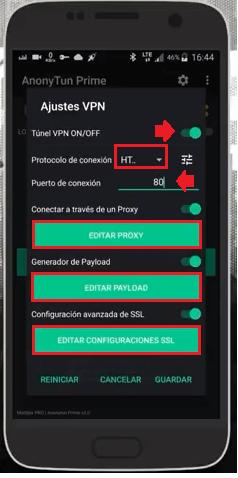 usar generador de payload tigo host http injector