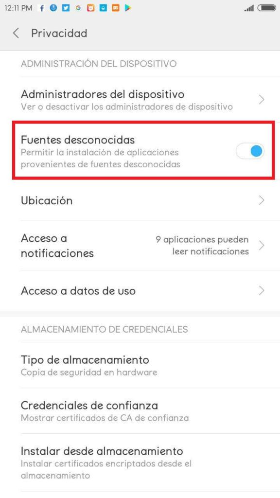 activar origines desconocidos android xiaomi youtube red