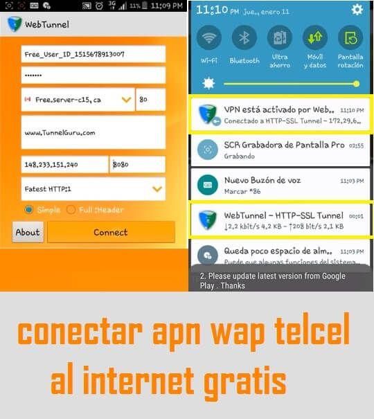 como conectar perfil wap telcel en web tunnel vpn apk